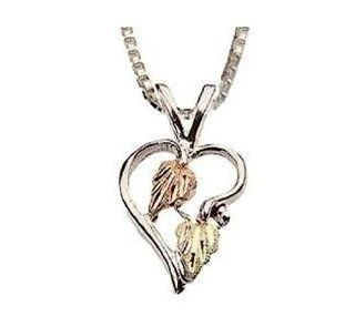 Stamper Black Hills Gold Sterling Silver Pendant Necklace. 10K Gold Leaf Adornments on Sterling Silver Heart and Chain. ND819 Jewelry
