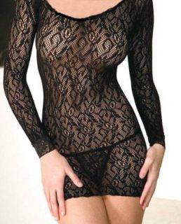 Sexy Long Sleeved Lace Mini Dress (Black) Clothing