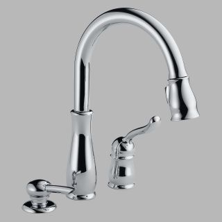 Delta Leland 978 DST Single Handle Pull Down Kitchen Faucet with Soap Dispenser   Kitchen Faucets