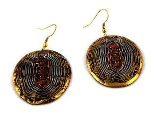 Headhunter African Jewels Handcrafted Copper and Brass Woven Wire Oval Earrings Jewelry