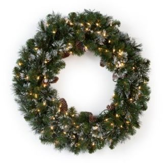 30 in. Glittery Pine Pre lit Wreath   Christmas Wreaths