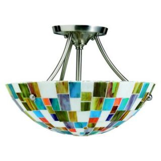 Kichler Art Glass Creations 2 Light Semi Flush Ceiling Mount   Tiffany Ceiling Lighting