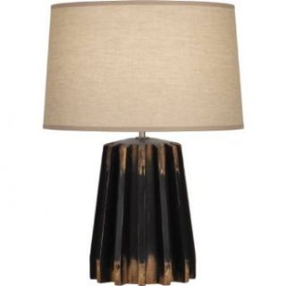 Robert Abbey 824 Rico Espinet Adirondack   One Light Gear Table Lamp, Distressed Black Painted Finish with Ascot Khaki Fabric Shade