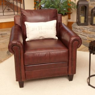 Elements Manchester Top Grain Leather Accent Chair   Barolo   Club Chairs