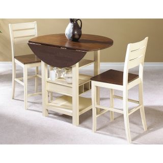 Sunset Trading Cascade 3 Piece Cream & Espresso Pub Table Set   Pub Tables