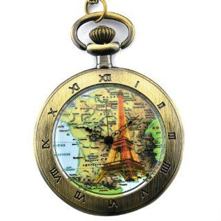 Eiffel Tower Case Yellow Dial Roman Numerals Antique Punk Pocket Watch with Chain Watches
