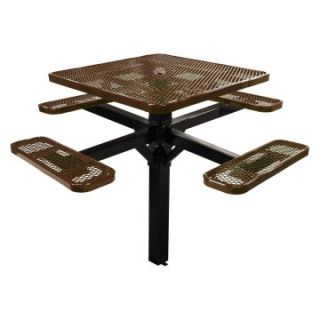 46 in. Single Post Expanded Metal Square Commercial Grade Picnic Table with Attached Benches   Picnic Tables