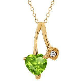 0.84 Ct Heart Shape Green Peridot and White Topaz 18k Yellow Gold Pendant Jewelry