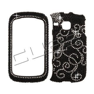 Samsung I857 I 857 DoubleTime Double Time Cell Phone Full Crystals Diamonds Bling Protective Case Cover Black with White Spiral Flower Vines Design Cell Phones & Accessories
