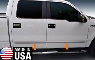 09 2013 Ford F150 Crew Cab Rocker Panel Chrome Stainless Steel Body Side Moulding Molding Trim Cover 1 1/2'' Wide 4PC Automotive