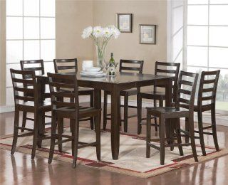 Fairwinds 7Pc Square Counter Height Dining Table Set Cappuccino Finish   Dining Room Furniture Sets