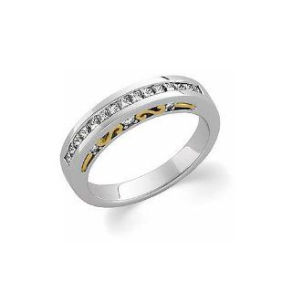 Diamond Anniversary Band in 14K White & Yellow Gold (1/2 ct tw) Rings Jewelry