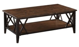 Magnussen Fleming Rectangle Rustic Pine Wood and Metal Coffee Table   Coffee Tables