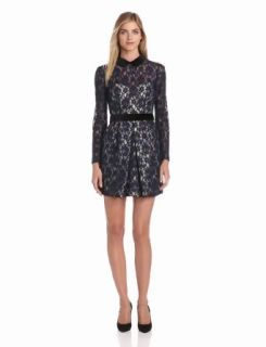 Jill Jill Stuart Women's Lace Dress with Peter Pan Collar, Navy/Almond, 10