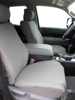 Exact Seat Covers, T967 X7, 2007 2011 Toyota Tundra and Sequoia Front Bucket Seats Custom Fit Seat Covers, Gray Automotive Twill Automotive