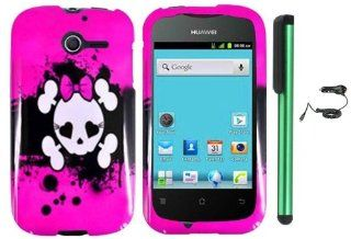 "Huawei Ascend Y M866   Pink Black Heart Love Eye Cute Skull Premium Design Protector Hard Cover Case (U.S. Cellular) + Luxmo Brand Car Charger + Combination 1 of New Metal Stylus Touch Screen Pen (4"" Height, Random Color  Black, Silver, Hot Pink, Gree"