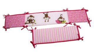 Little Bedding by NoJo 3 Little Monkey Girl Crib Bumper   Crib Bumpers