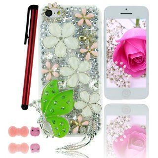 Ancerson Pink Gold White Flowers Chain Tassel Green Silver Butterfly Spirit Angel Girl Pink Bow Bowknot Bowtie Circle Handmade Bling 3D Crystal Diamond Rhinestones Hard Back Case Cover Shell Skin for Apple Iphone 5C with a Pink Stylus Touchscreen Pen, a 3.