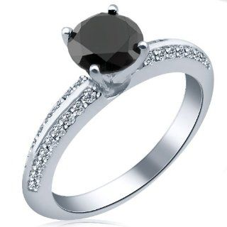 14k White Gold Round Brilliant Cut Diamond Engagement Ring Pave Set ( 1.44 Cttw, AAA Clarity, Fancy Black Color) Jewelry