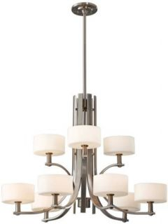 Murray Feiss F2406/6+3BS 9 Light Up Lighting Chandelier from the Sunset Drive Collection, Brushed Steel