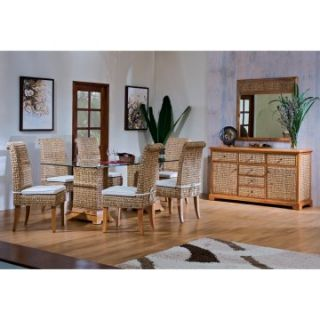 Hospitality Rattan Sea Breeze Indoor 8 Piece 42 x 72 in. Seagrass Dining Set   Natural   Indoor Wicker Furniture