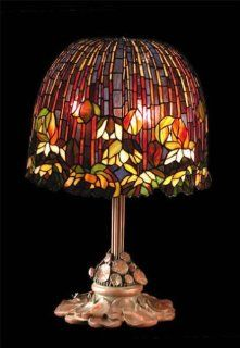 Tiffany Flowering Lotus Table Lamp Replica, This Museum Quality All Hand Crafted 1, 848 Piece Tiffany Flowering Lotus Lamp Shade Replica Is Skillfully Hand Cut From the Finest Hand Rolled American Colored Art Glass, with Our Handcrafted 100% Solid Red bras
