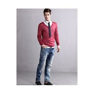 Long Sleeve V Neck Thin Cotton Mens Sweater Cell Phones & Accessories