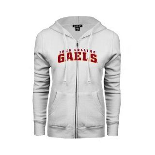 Iona College Ladies White Fleece Full Zip Hoodie 'Arched Iona College Gaels'  Sports & Outdoors