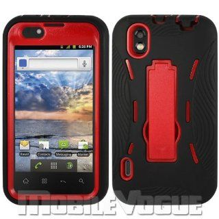 LG Marquee/Ignite/LS855 Black/Red Combo Silicone Case + Hard Cover + Kickstand Hybrid Case BoostMobile Cell Phones & Accessories