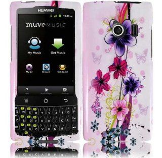 White Pink Purple Flower Hard Cover Case for Huawei Ascend Q M660 Cell Phones & Accessories