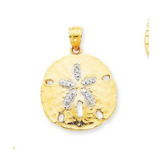 21mm Diamond Sand Dollar Pendant In 14 Karat Yellow Gold and Rhodium Jewelry