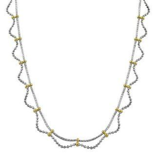 10 Karat Two Tone Gold Beads Twisted Chain Station Necklace (17 inch) Jewelry