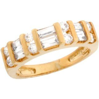 10k Real Solid Yellow Gold White CZ Sleek Ladies Anniversary Ring Anniversary Rings For Women Jewelry