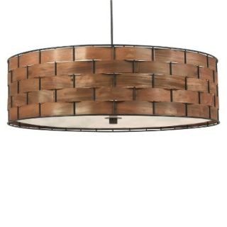 Kenroy Home Dark Woven Wood Finish Shaker 3 Light Pendant