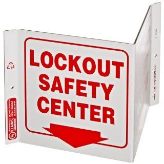 "ZING 2570 Eco Safety V Sign with Picto, Legend ""LOCKOUT SAFETY CENTER"", 12"" Width x 7"" Height x 5"" Depth, Recycled Plastic, Red on White Industrial Warning Signs"