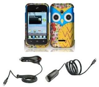 Huawei Inspira H867G / Glory H868C   Accessory Combo Kit   Baby Blue and Yellow Owl Design Shield Case + Atom LED Keychain Light + Wall Charger + Car Charger Cell Phones & Accessories
