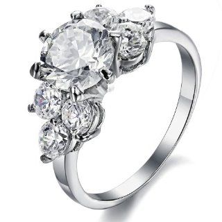 OPK Jewelry New Style Three Stone Engagement Ring For Women Stainless Steel Finger Ring Bands Band Cubic Zirconia Cz Inlaid. Jewelry