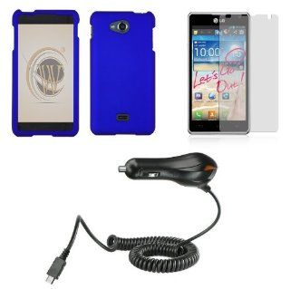 LG Spirit 4G MS870 (Metro PCS) Accessory Combo Kit   Blue Hard Shield Case + ATOM LED Keychain Light + Screen Protector + Micro USB Car Charger Cell Phones & Accessories
