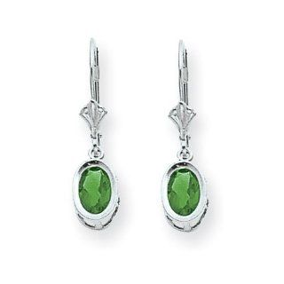 14k White Gold 7x5mm Oval Emerald leverback earring Jewelry