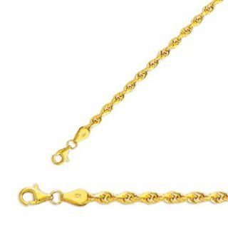 "20"" 10K Yellow Gold 3.5mm (1/7"") Polished Solid Diamond Cut Royal Rope Chain w/ Pear Shape Clasp Jewelry"