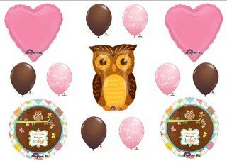 Baby Girl Owl Look Whooo Shower balloons Decorations Supplies