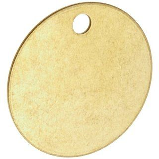 "Brady 23210 1 1/2"" Diameter B 907 Brass Round Blank Brass Valve Tags (Pack Of 25) Industrial Lockout Tagout Tags"