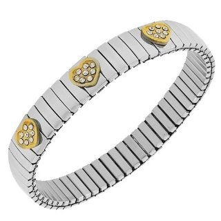 Stainless Steel Yellow Gold Silver Two Tone Triple Heart Love White Crystals CZ Stretch Womens Bangle Bracelet My Daily Styles Jewelry