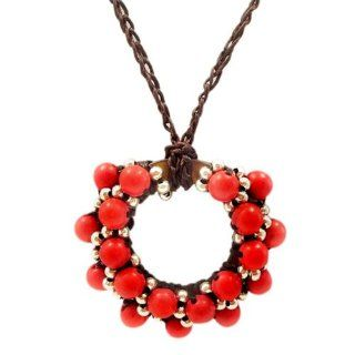 Moon Cluster Red Coral Silver Beads Accents Cotton Rope Necklace Jewelry
