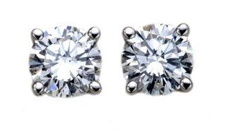14k White Gold Round Diamond 4 Prong Stud Earrings (1/3ctw, SI1/2, H I) Jewelry