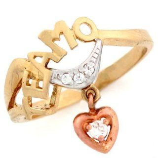 14k Tri Color Te Amo Rose Gold Heart Love Ring Jewelry Jewelry