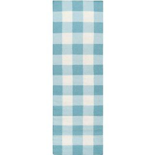 2.5' x 8' Simple Plaid Turquoise Blue and White Wool Area Throw Rug