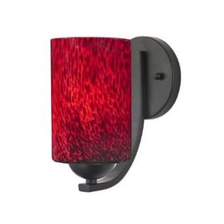Black Wall Sconce with Red Art Glass Cylinder Shade
