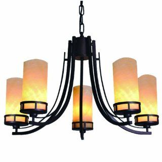 Yosemite Home Decor DD913 5DB Harlequin 5 Light Chandelier with Onyx Glass Shades