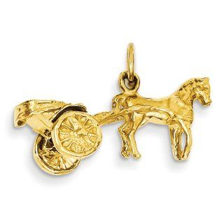 14K Yellow Gold 3 D Horse & Buggy Charm Jewelry